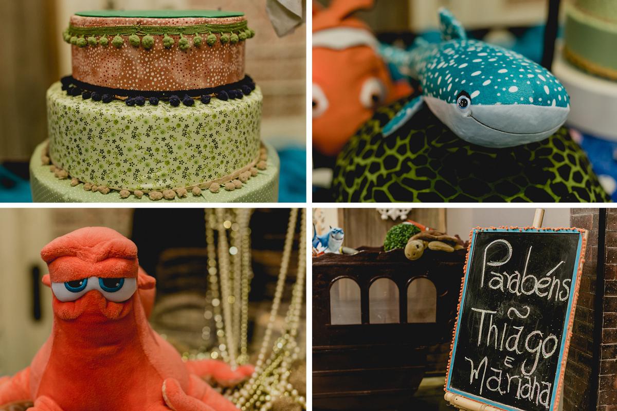 Detalhes da mesa do bolo do procurando nemo