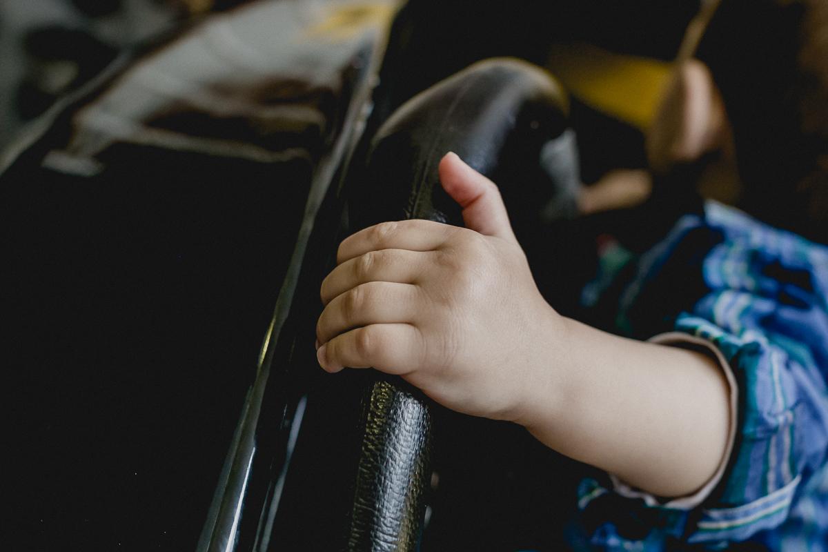 detalhe da maozinha no volante do carro