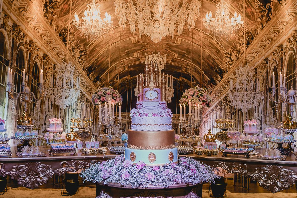 Detalhes da mesa do bolo da princesa