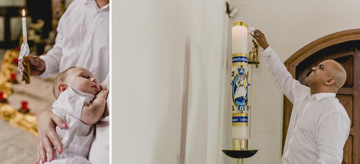 acendendo a vela do batismo