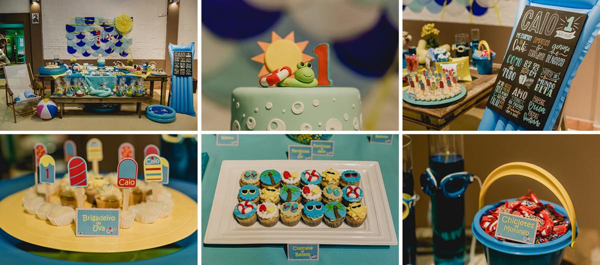 Detalhes da mesa do bolo com o tema festa na piscina