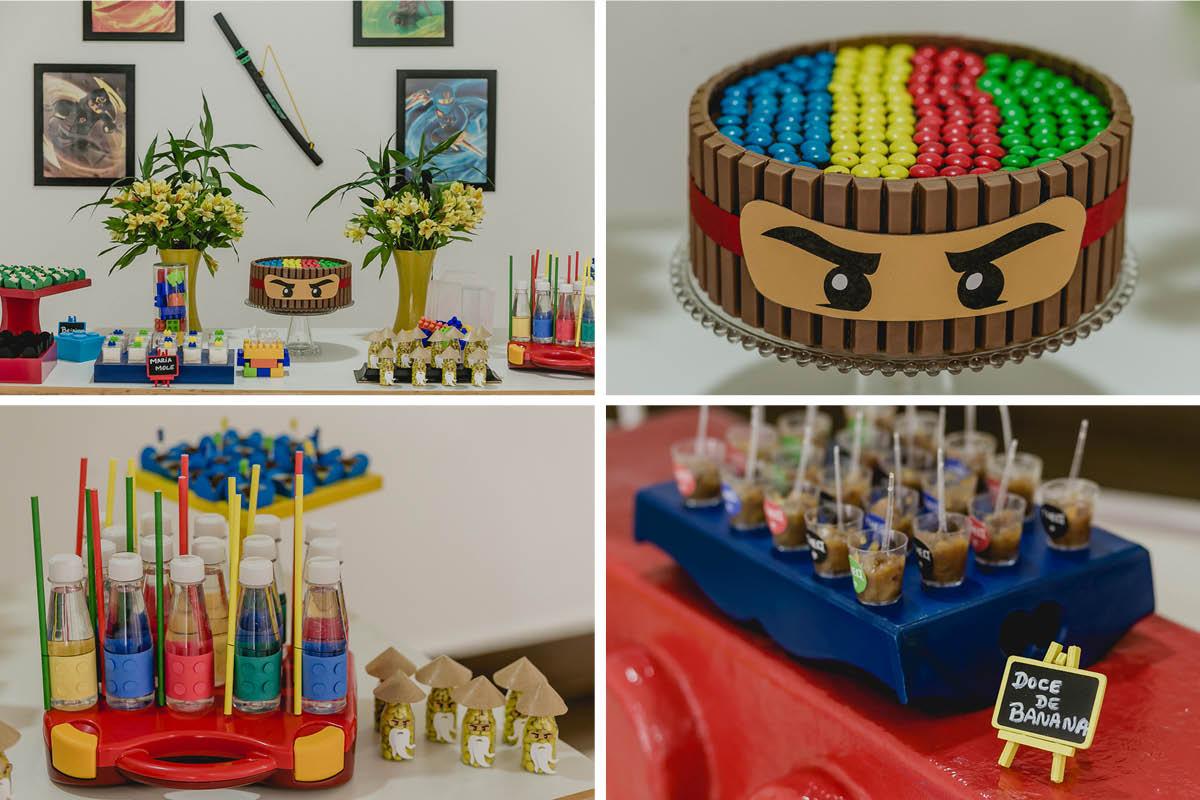 detalhes da mesa do bolo do lego ninja