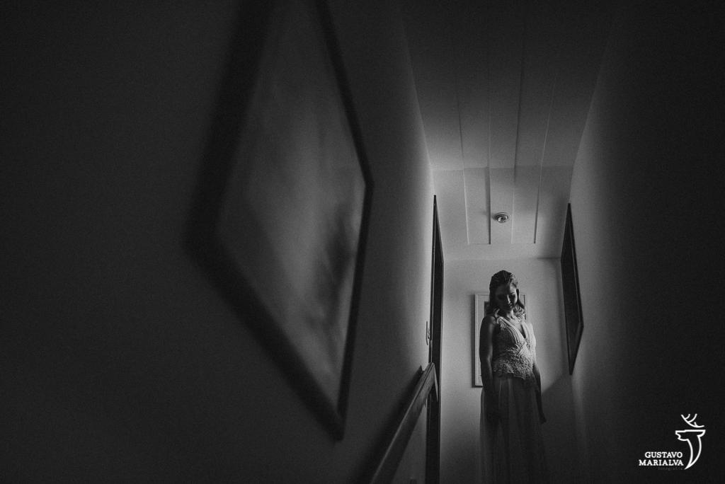 retrato da noiva na escada