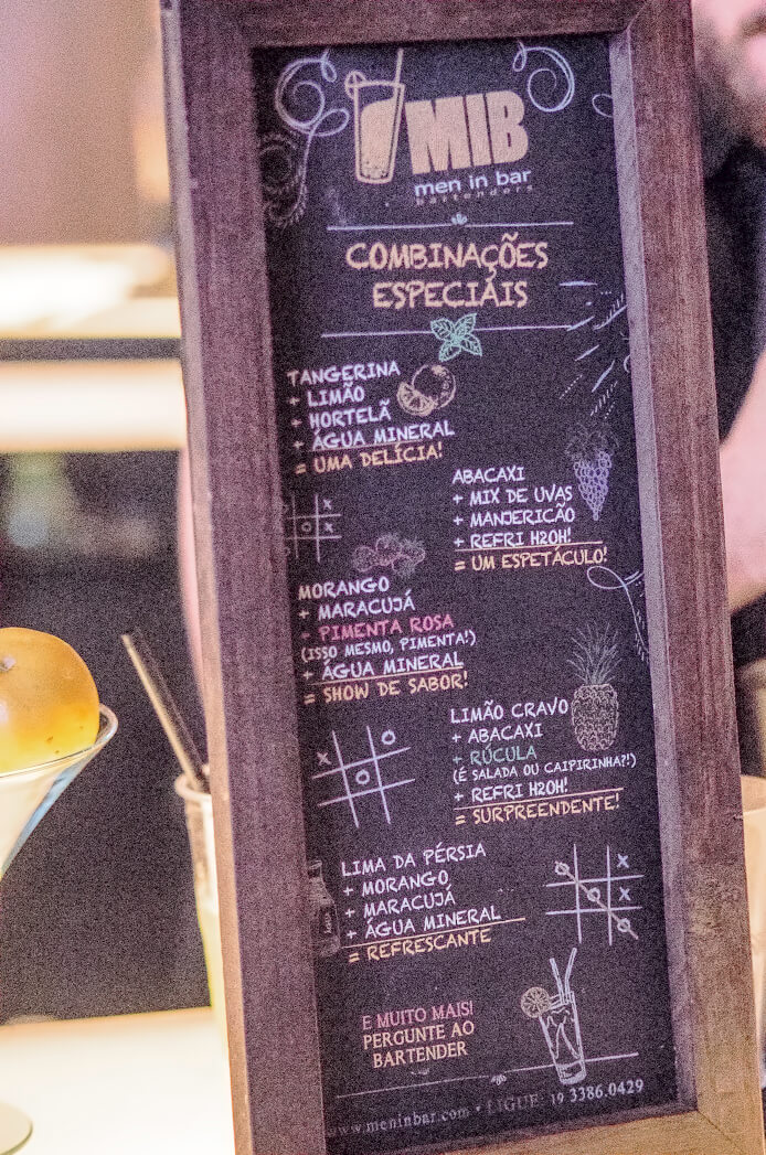 Cardapio dos Bartenders MIB