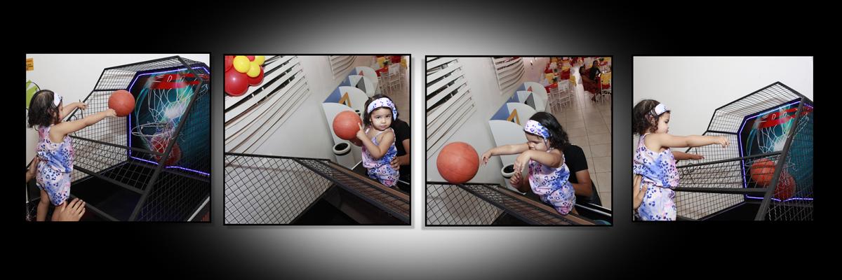 durante a festa a julia jogou basquete. pode arremessar a bola e acertou a cesta. belos arremessos. aproveitou cada cesta. parabens princesa. tio nico ficou muito feliz com a sua festa.
