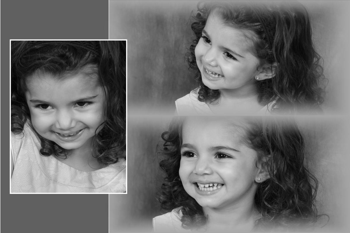 fotos preto e branco tem um charme em especial e nesta diagramacao ainda ficou melhor com a modelo kids que expressa olhares marcantes.