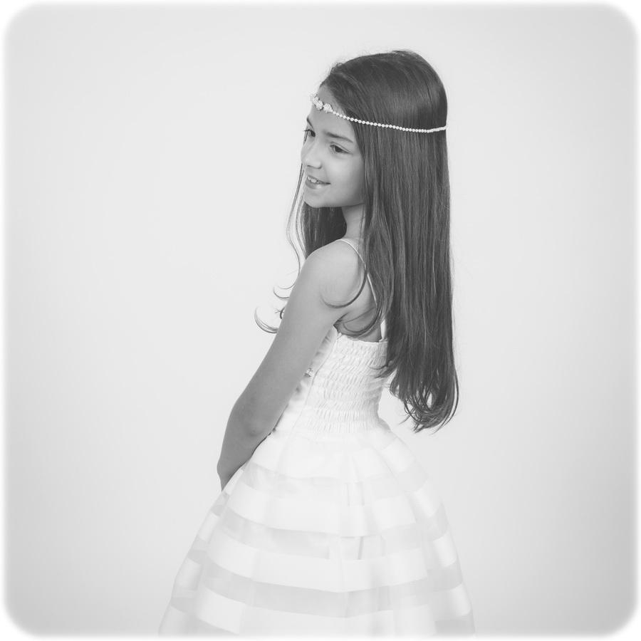fotografia de estúdio menina de comunhão