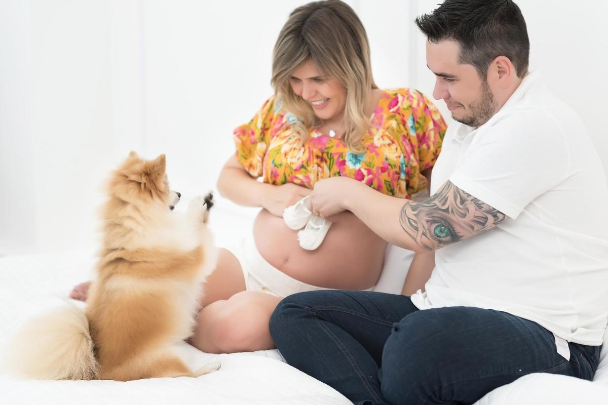 Ensaio Life Maternity - ensaio fotográfico gestante - estúdio - grávida - cachorro estúdio