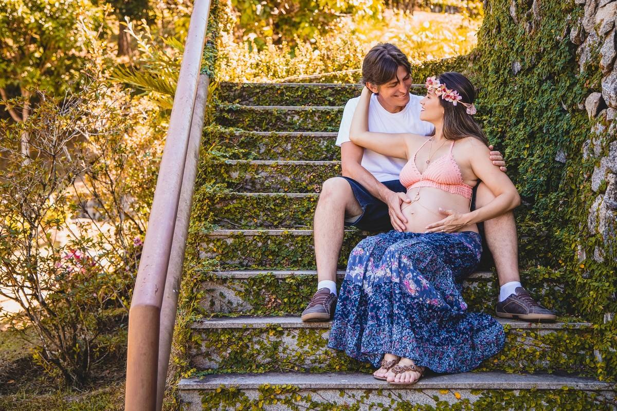 ensaio de gestante realizado em Vargem alta no sitio colina park com o casal de iconha