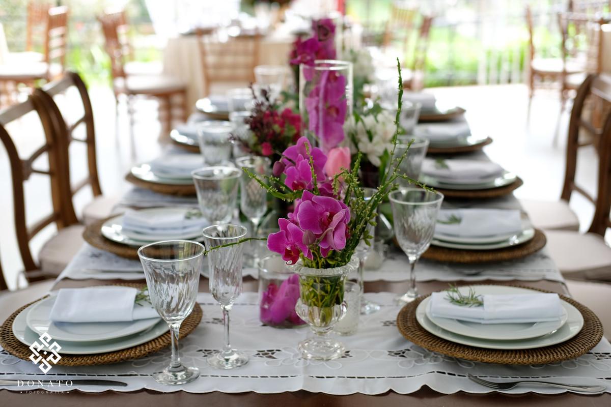 Detalhes da mesa da Decoração feita pala Florearte.