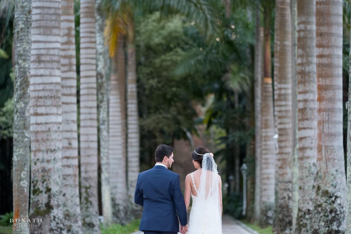 noivos caminham entre a imensas palmeiras da fazenda 7 lagoas.