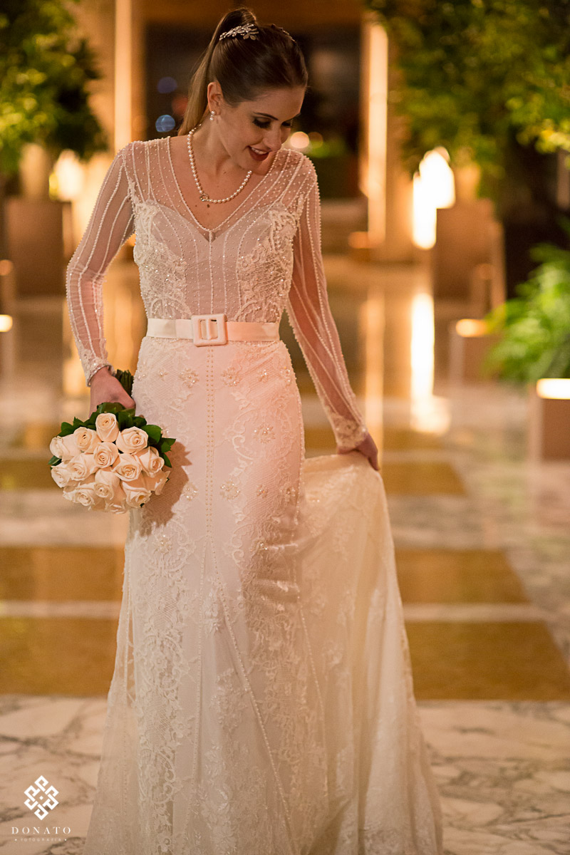 leandro donato fotografa vestido desenhado pela noiva.