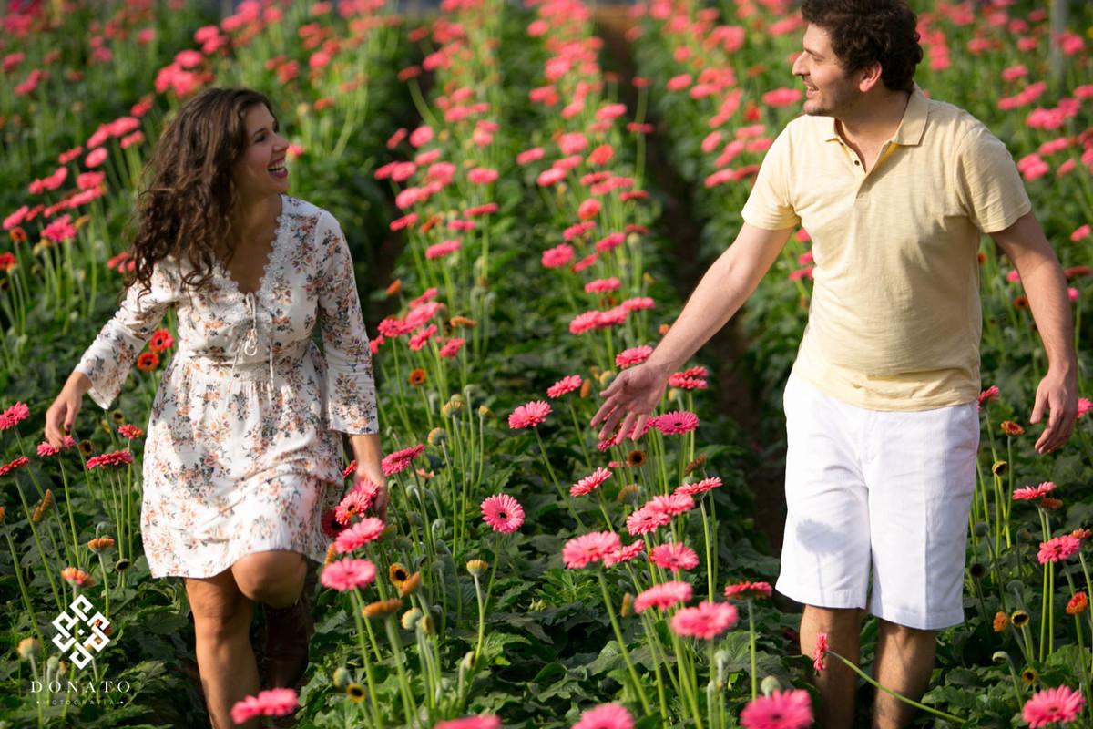 Casal se diverte enquanto caminham entre o campo d margaridas rosas, este mar de flores deixou a foto linda, no contraste da roupa clara do casal.