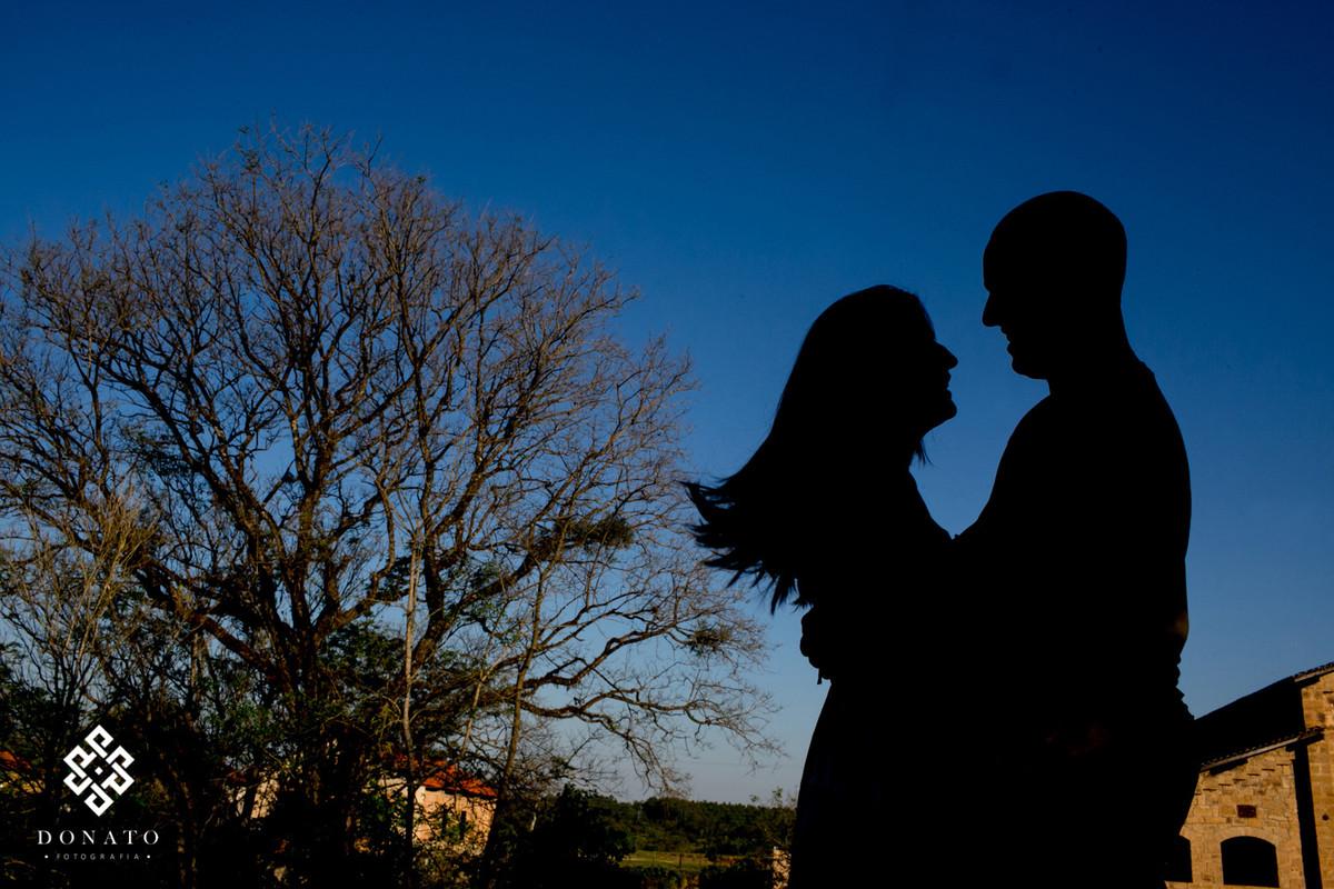 Detalhe do casal em silhueta, um lindo ceu azul e uma arvore fazem parte da imagem.