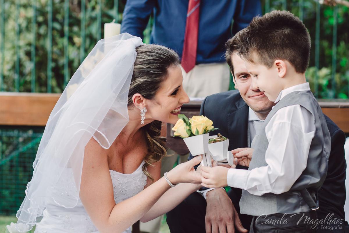 familia unida em casamento