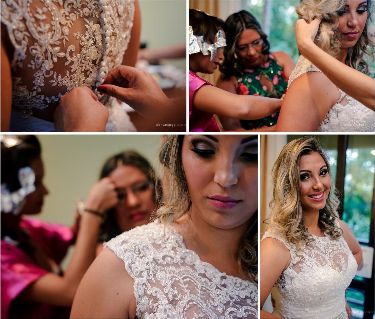 vestido da noiva em renda, casar com cabelo solto, making of noiva, maquiagem noiva, maquiadora angra dos reis