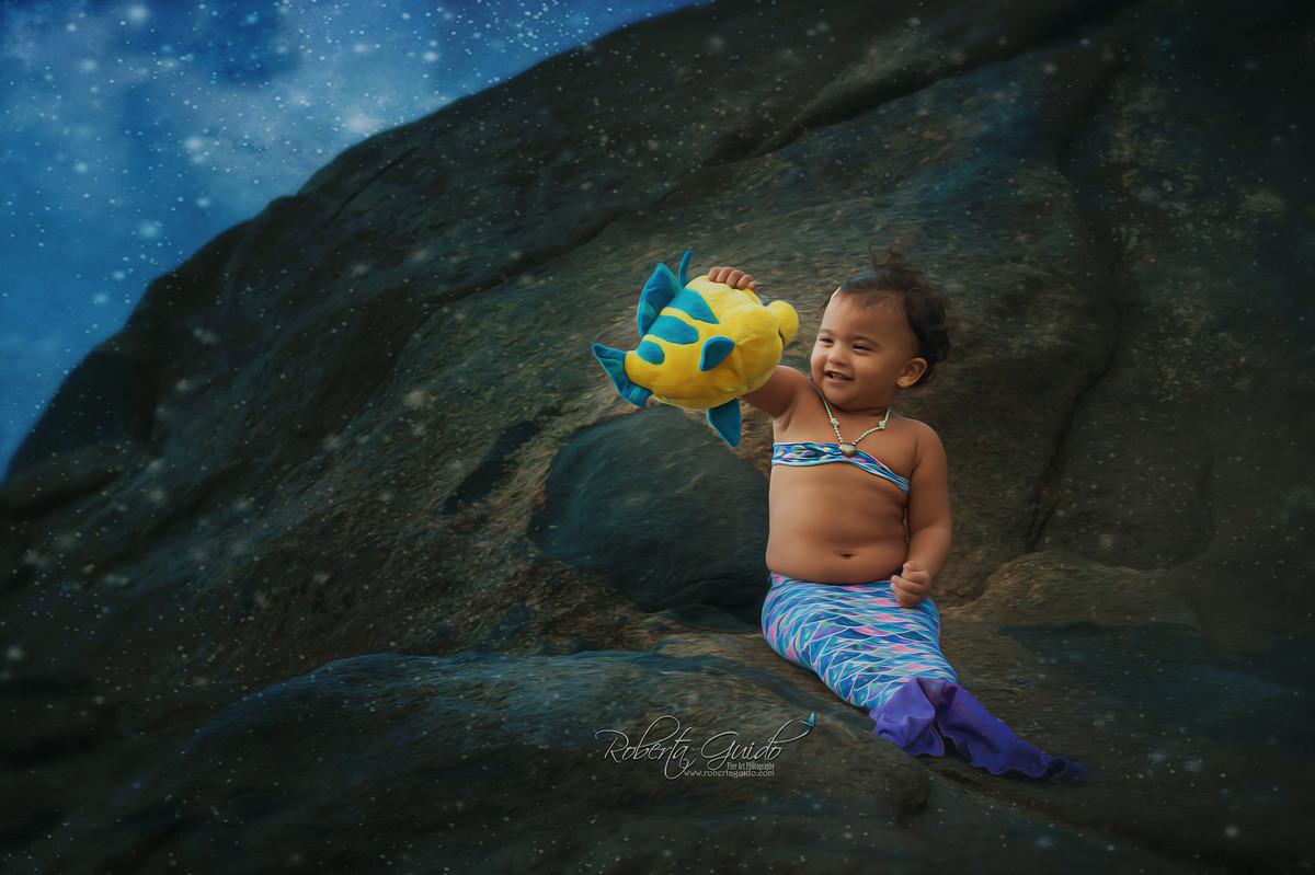 ensaio fotográfico bebê sereia