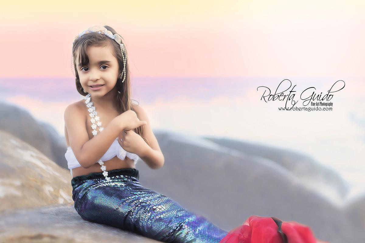 ensaio fotográfico de criança sereia