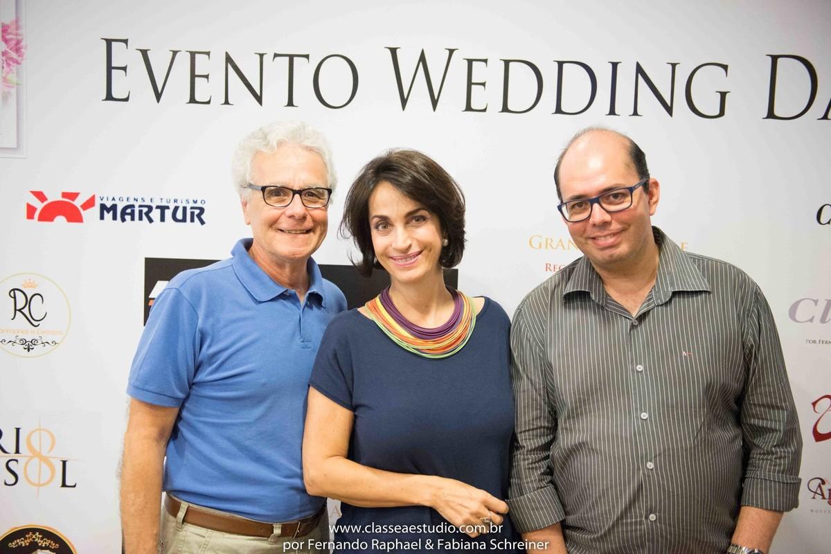 Mario Ameni, Claudia Matarazzo e Ricart Passos no salão de noivas e festas wedding day