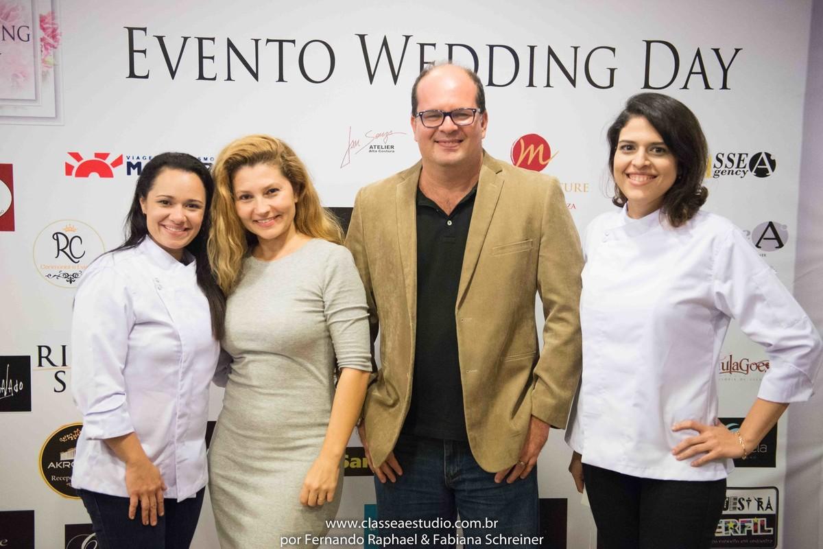 Lilian Vasconcelos, Fabiana Schreiner, Fernando Raphael e Renata no salão de noivas e festas wedding day