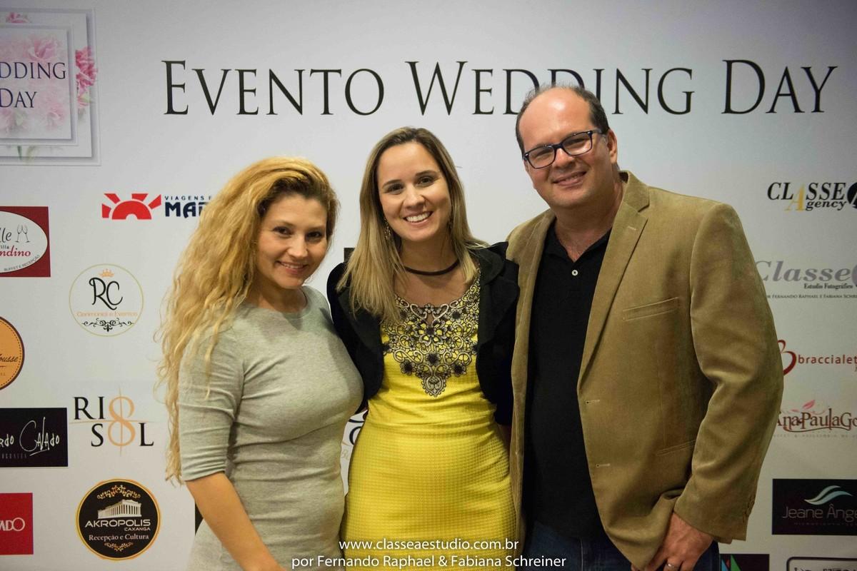 Fabiana Schreiner, Tarciana Moraes cerimonial e Fernando Raphael no salão de noivas e festas wedding day
