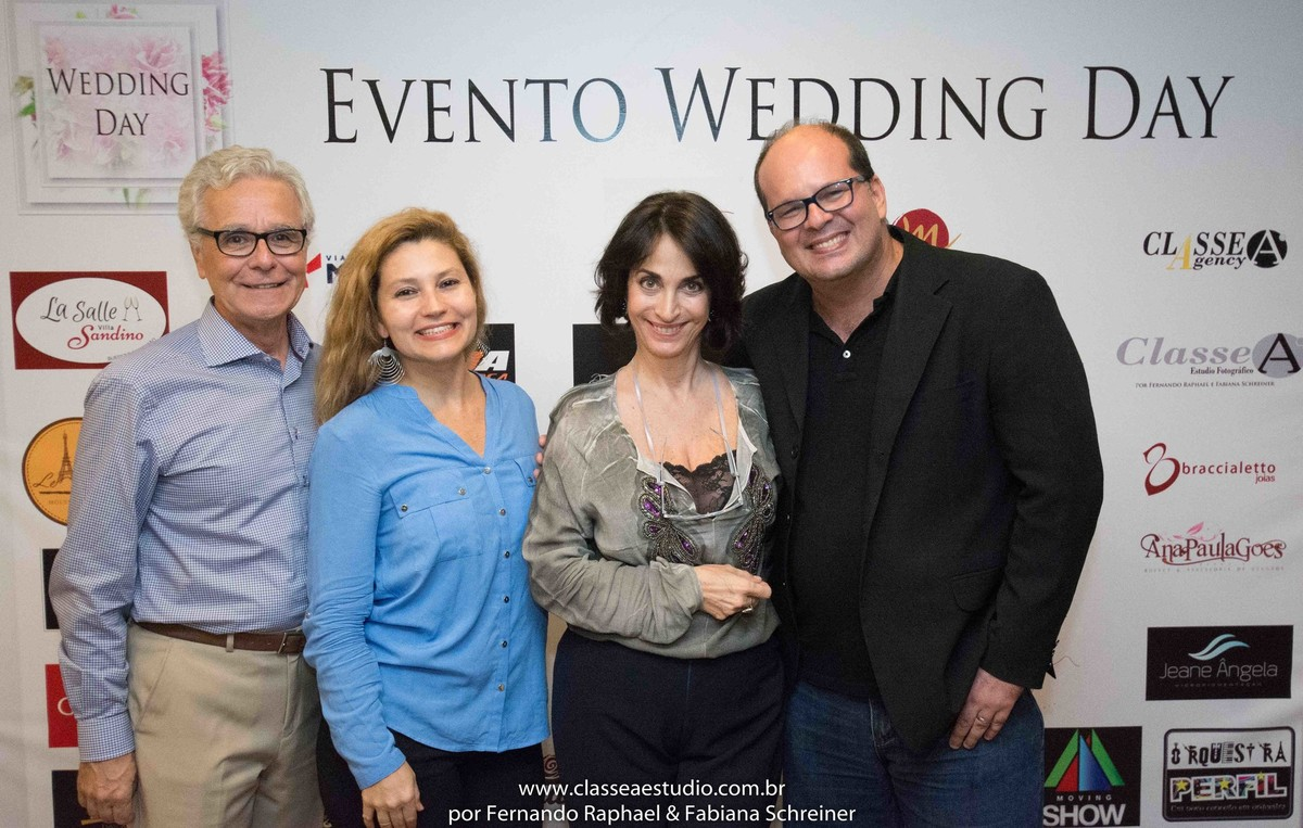 Mario Ameni, Fabiana Schreiner, Claudia Matarazzo e Fernando Raphael no salão de noivas e festas wedding day