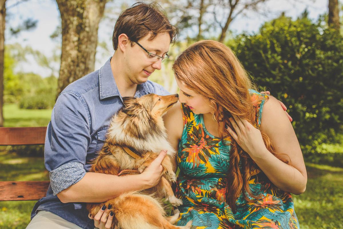 Noiva ganhando carinho do cachorro