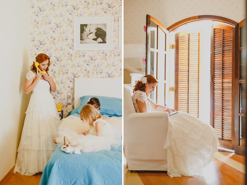 Fotos do making of da Noiva, A noiva Helena se arrumou juntos com suas pequenas filha gêmeas., depois reservou um momento para escrever os seus votos. Fotografia de casamento, fotos de casamento, noiva pó de arroz, vestido de noiva , vestida