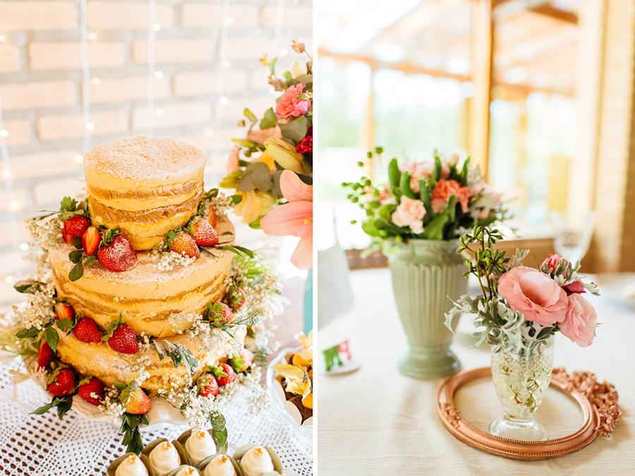 A decoração desse casamento foi pensada com muito carinho. A mesa do bolo nade cake ficou do jeito que eles queriam.