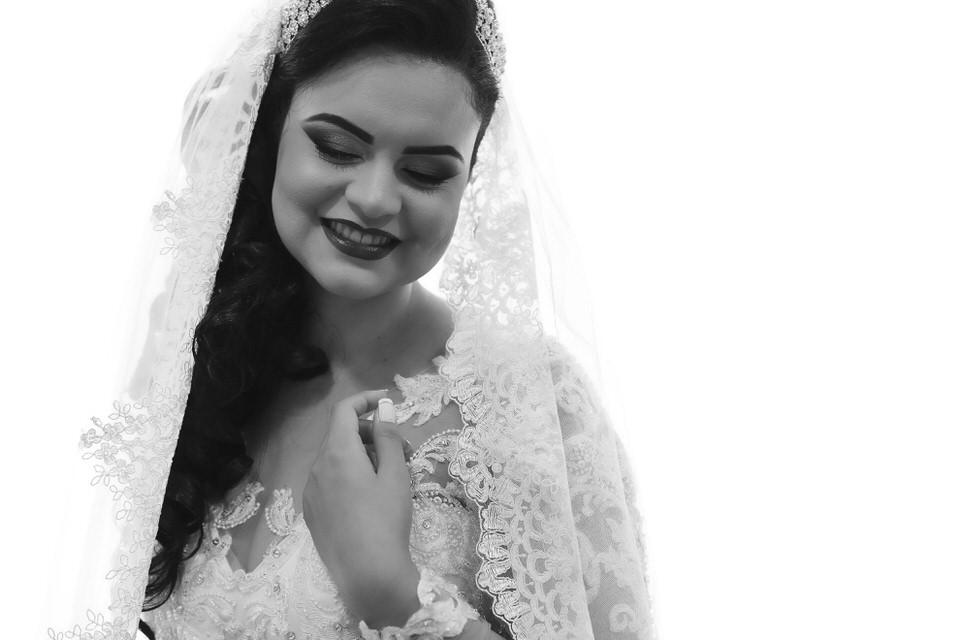 Retrato da noiva Aline antes do casamento
