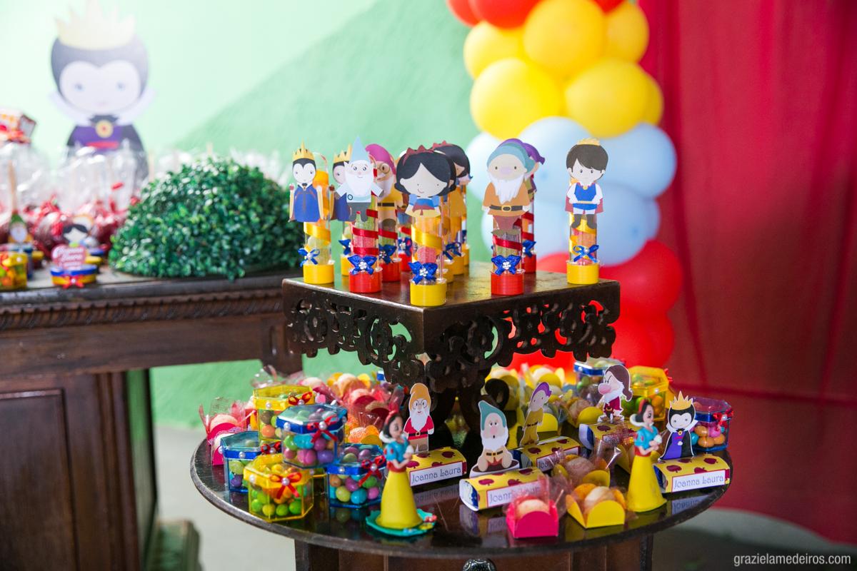 mesa do bolo com decoraçao de branca de  neve em aniversário infantil