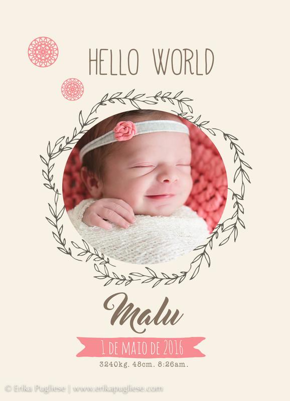 Painel de nascimento da Malu. Sorriso do newborn.