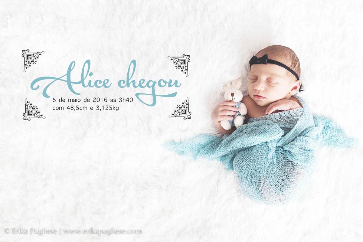 Apresentação da boneca Alice com os dados do nascimento