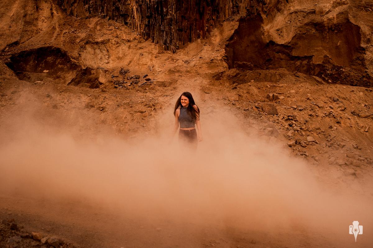 fotografia com fumaça e com poeira