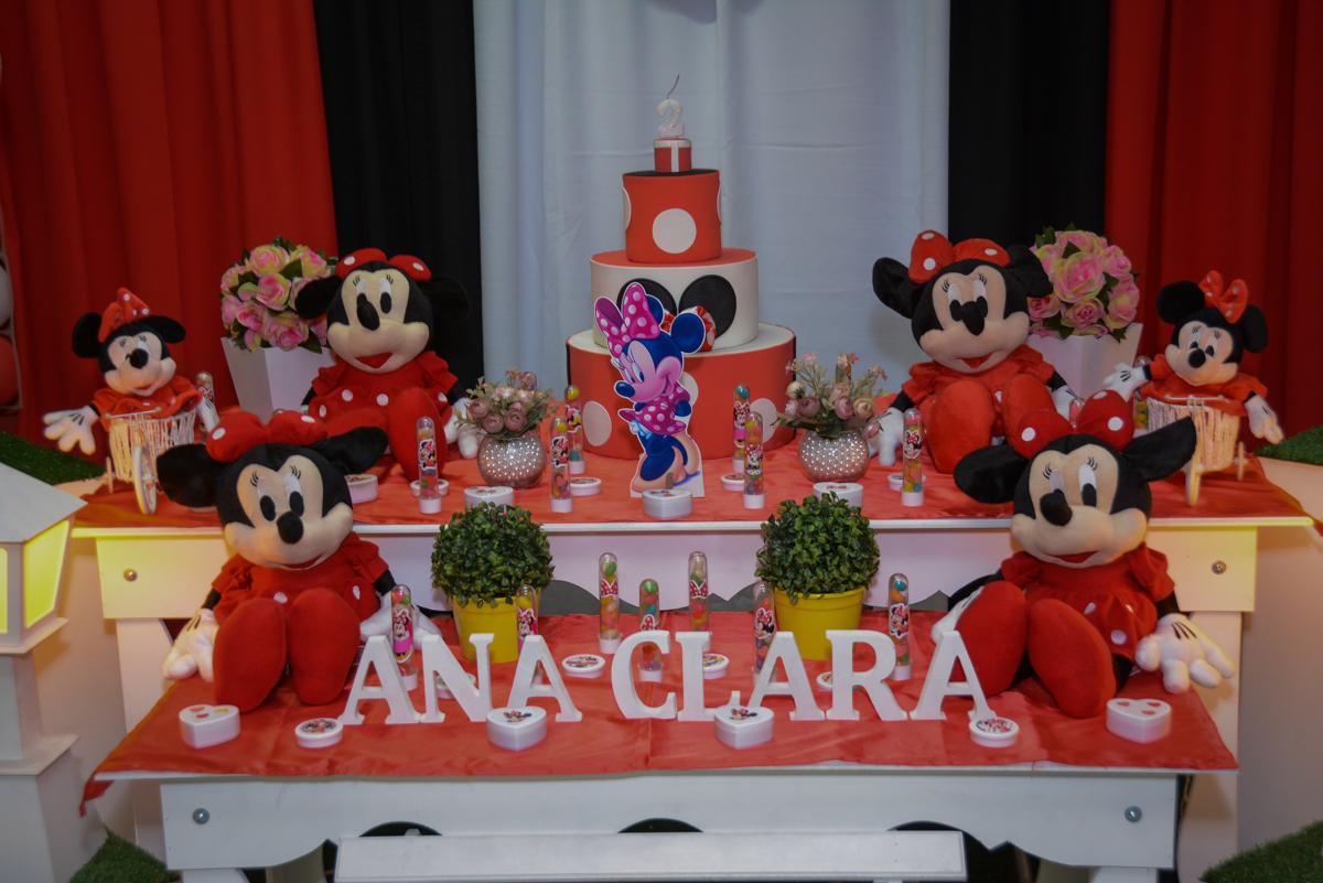 Mesa decorada na Festa infantil, Ana Clara 2 aninhos, tema da festa Minie Vermelha, Buffet Balão Mágico, Osaco, SP