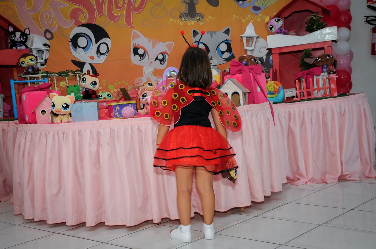 A aniversariante está vestida com a fantasia da joaninha no Buffet Fábrica da Alegria,festa infantil, aniversário infantil, fotografia infantil,aniversariante Karina 6 anos tema da festa Pet