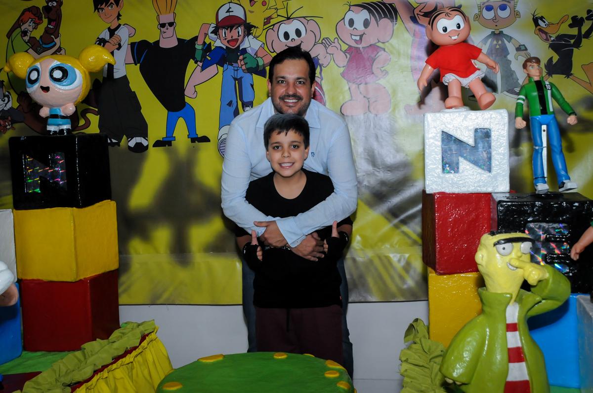 fotografia pai e filho no Festa infantil fotografia infantil aniversário de Arthur 10 anos e Marina 8 anos, buffet Magic Joy, Saude, SP, tema da festa cartoon