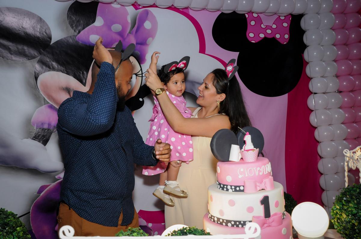 Parabéns animado no Buffet Comics, Morumbi, São Paulo, SP, aniversario de Giovanna 1 aninho, tema da festa, minie rosa