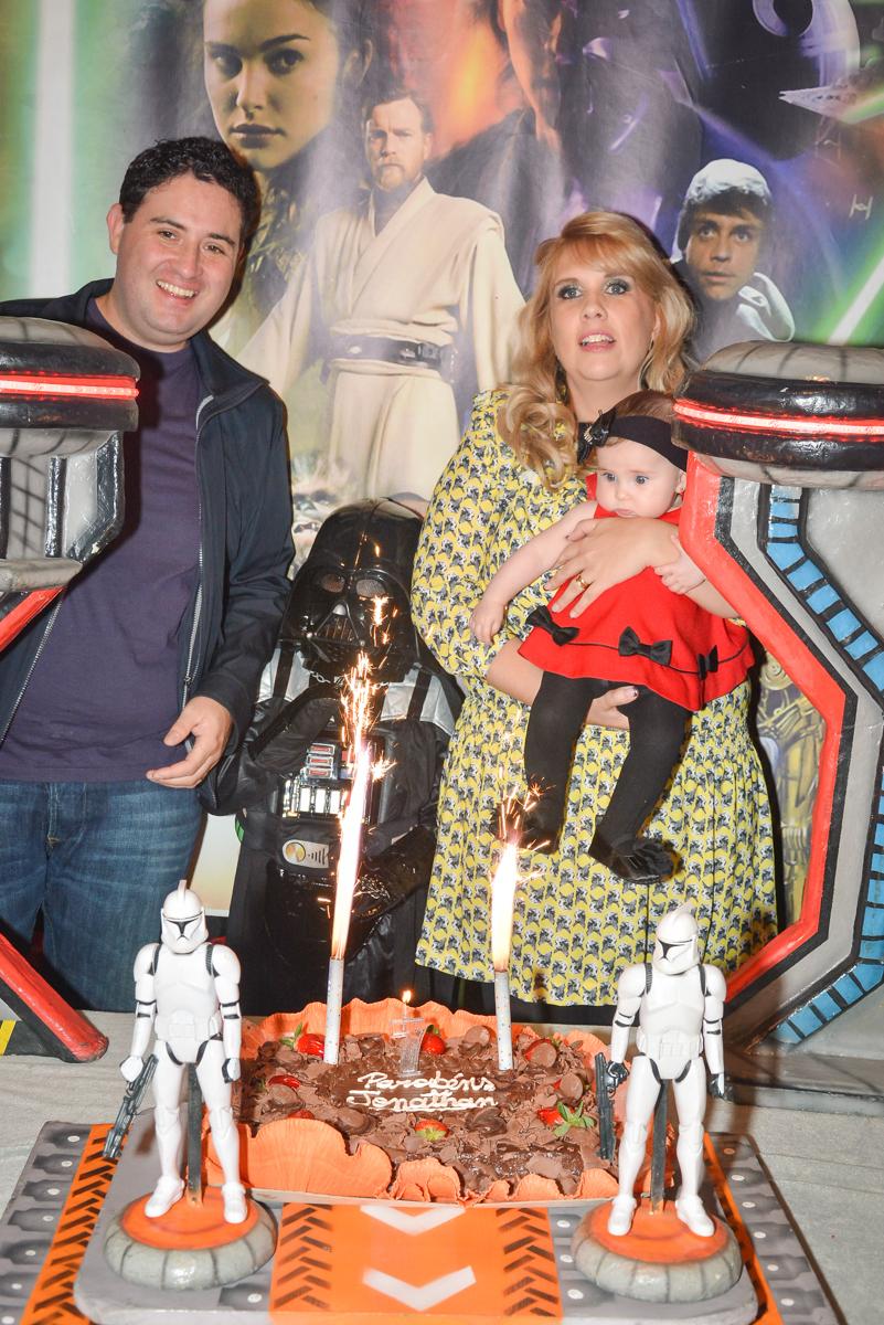 hora de cantar o parabéns no Buffet Salakaboom, Ipiranga, São Paulo, aniversário de Jonathan 7 anos, tema da festa Star Wars
