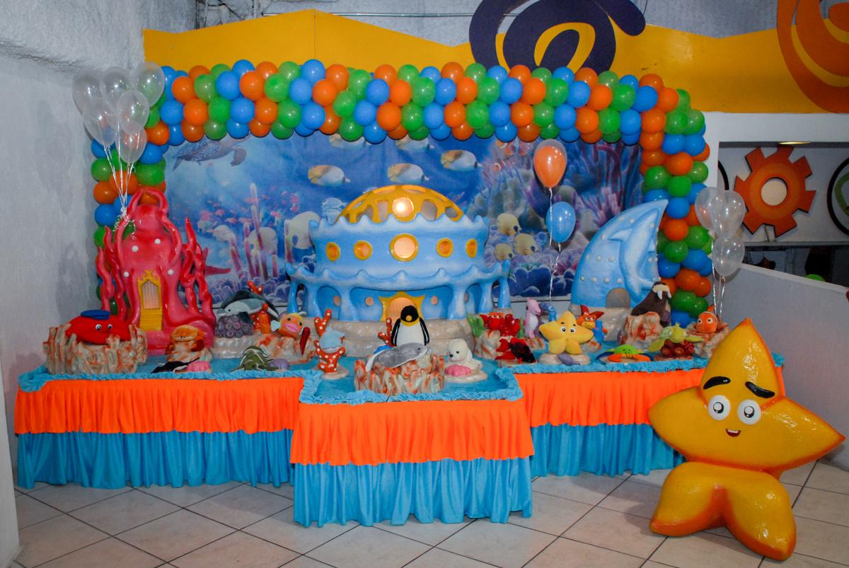 mesa decorada no Buffet Fábrica da Alegria, Osasco, São Paulo, aniversário de Vinicius 6 anos, tema da festa Fundo do Mar