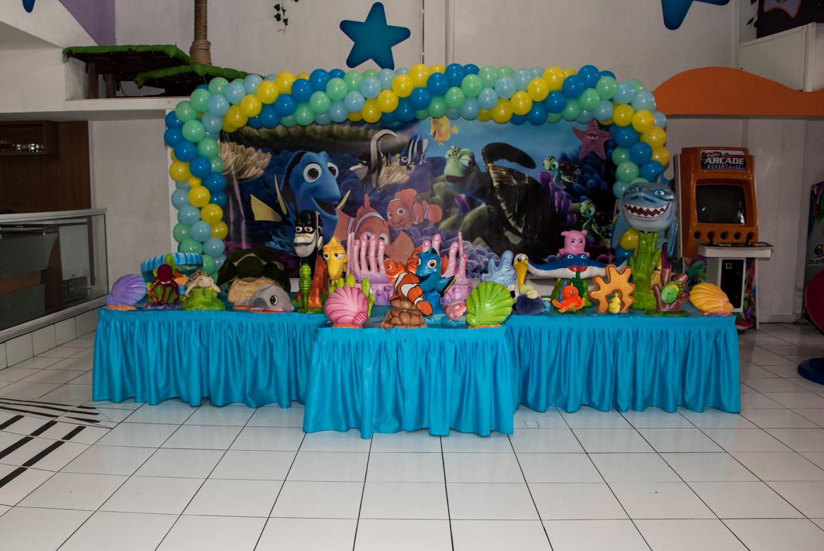 mesa tematica no Buffet Magic Joy, saude, são Paulo, aniversário de Catarina 3 anos, tema da festa fundo do mar