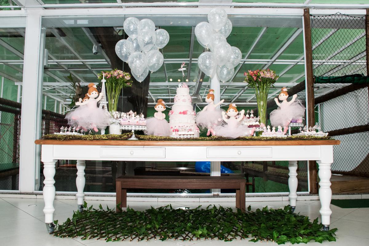 mesa temática Buffet Espaço Viva, Alto de Pinheiros, São Paulo, aniversário de Marina6 anos, tema da festa Bailarina