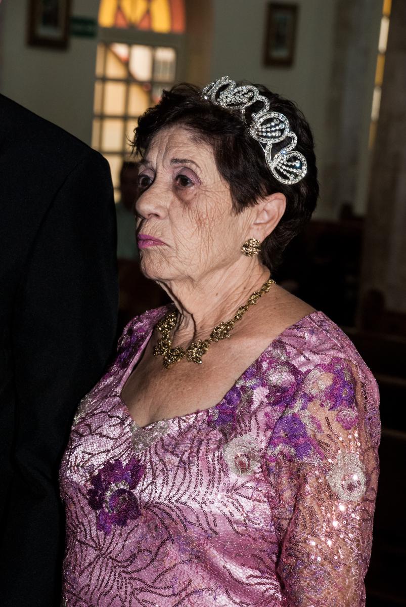 ela diz sim novamente na Bodas de Ouro Maria Luiza e José Rodrigues, igreja Santa Ângela e São Serapio, Ipiranga