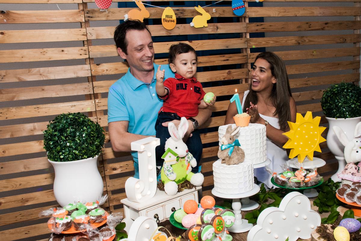 Parabéns animado no Buffet Grand Kid's, Cotia São Paulo, aniversário de Joseph 1 ano, tema da festa páscoa