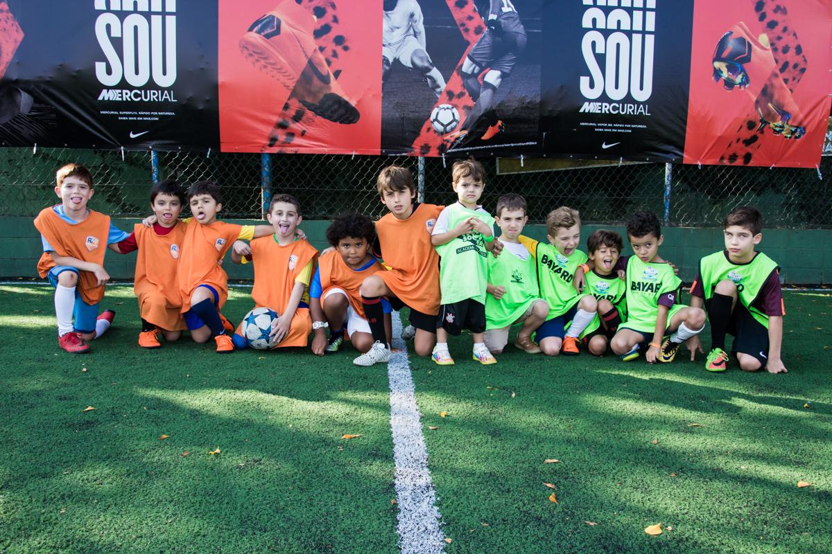 time montado para o jogo de futebol
