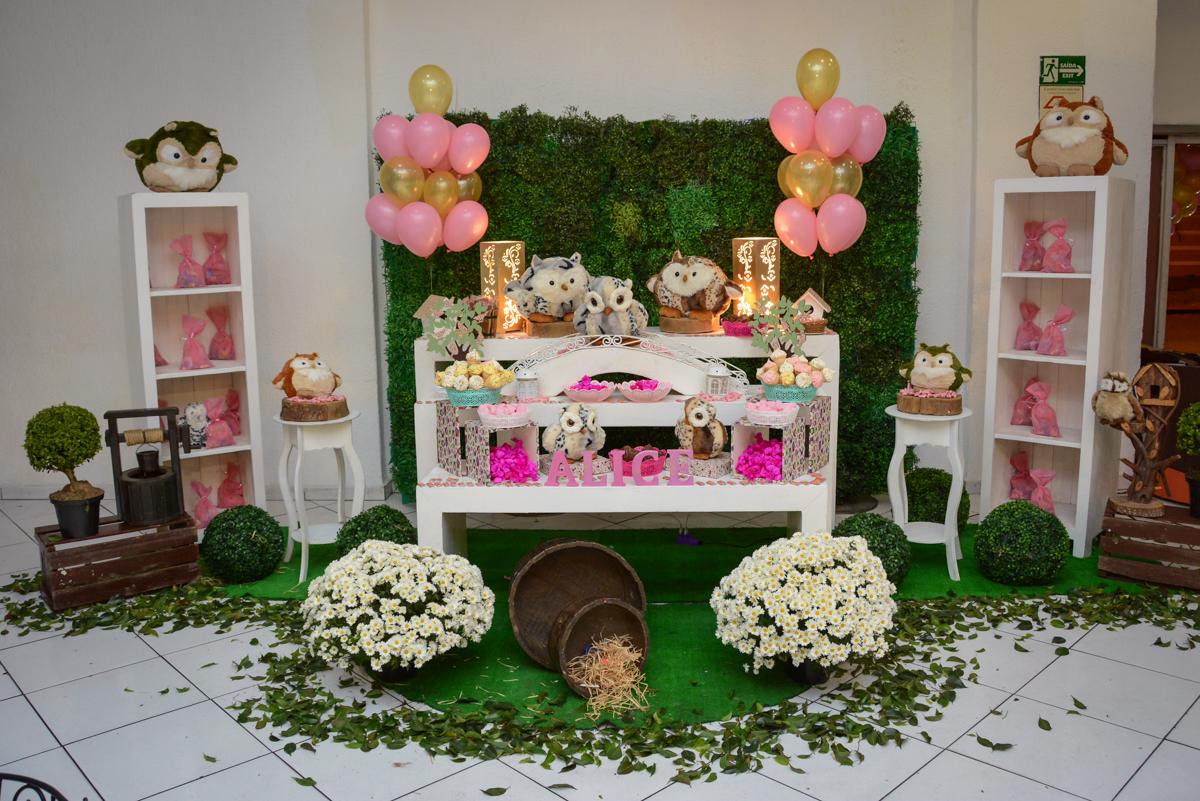 mesa decorada tema corujas no Buffet Fábrica da Alegria Unidade Morumbi, São Paulo