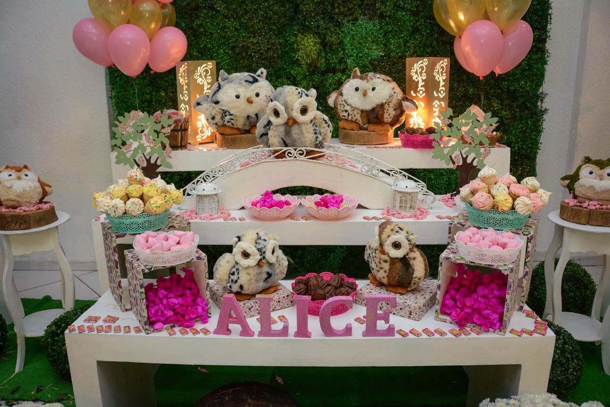detalhe da mesa decorada corujas no Buffet Fábrica da Alegria Unidade Morumbi, São Paulo