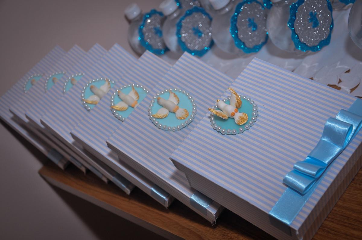 caixinhas de lembrancinhas no batizado do Matheus no festa no condomínio