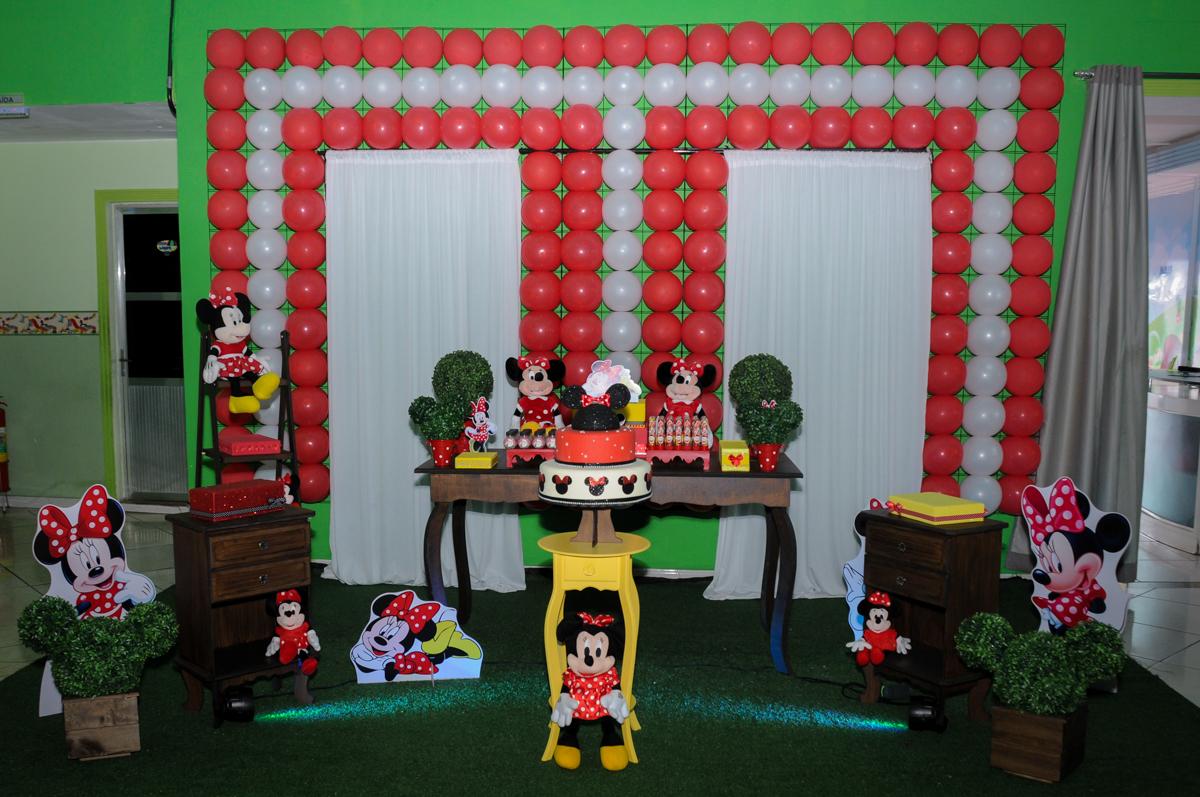 tema da mesa no Buffet Balão Mágico, Osasco, São Paulo tema da mesa Minie Vermelha e Monster High