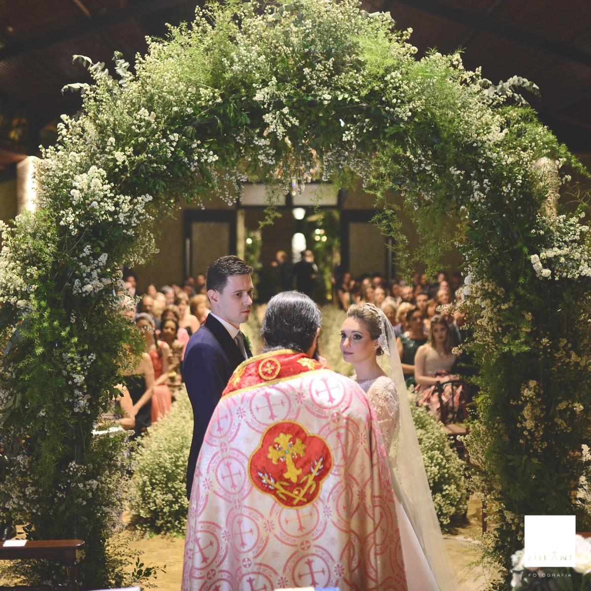 Durante a cerimônia religiosa